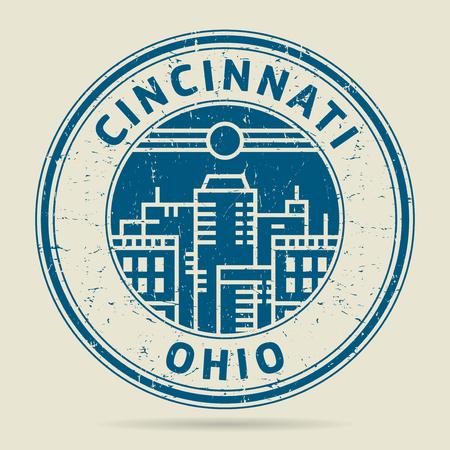 civilisation: Grunge rubber stamp or label with text Cincinnati, Ohio written inside, vector illustration