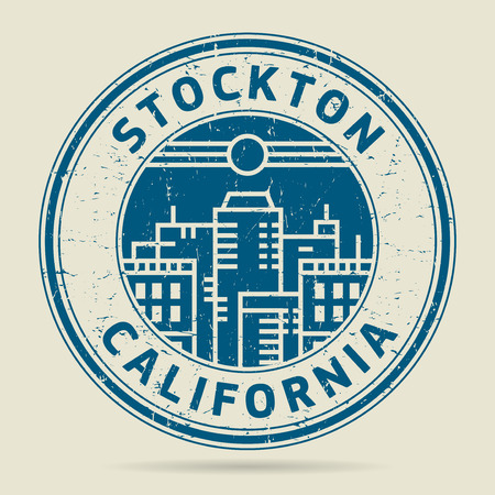 Grunge rubber stamp or label with text Stockton, California written inside, vector illustration