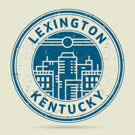 civilisation: Grunge rubber stamp or label with text Lexington, Kentucky written inside, vector illustration
