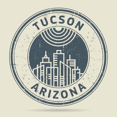 civilisation: Grunge rubber stamp or label with text Tucson, Arizona written inside, vector illustration Illustration