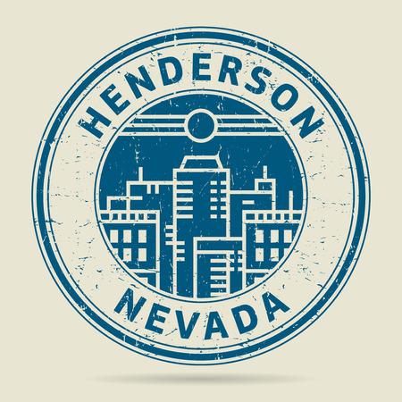 civilisation: Grunge rubber stamp or label with text Henderson, Nevada written inside, vector illustration Illustration