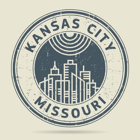 civilisation: Grunge rubber stamp or label with text Kansas City, Missouri written inside, vector illustration Illustration