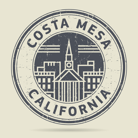 Grunge rubber stamp or label with text Costa Mesa, California written inside, vector illustration Illustration