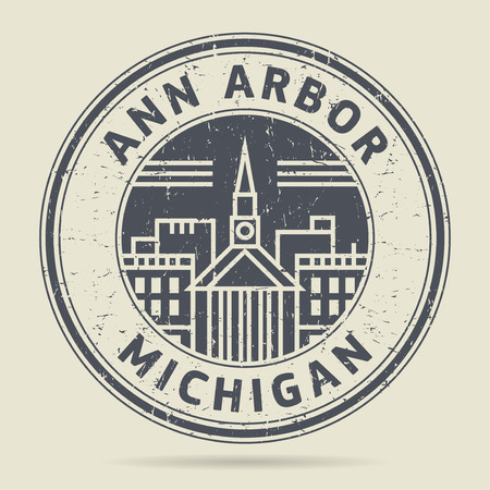 Grunge rubber stamp or label with text Ann Arbor, Michigan written inside, vector illustration