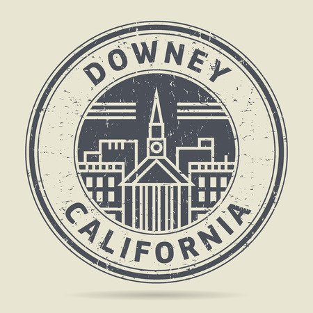 Grunge rubber stamp or label with text Downey, California written inside, vector illustration