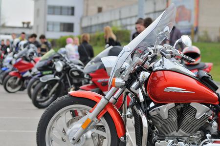 VILNIUS, LITHUANIA - MAY 1: motorbikes in a parking on May 1, 2010 in Vilnius, Lithuania. Vilnius is largest city in Lithuania.