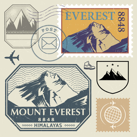 himalayas: Post stamp set with the Mount Everest in the Himalayas, outdoor, expedition mountain adventure signs, vector illustration Illustration