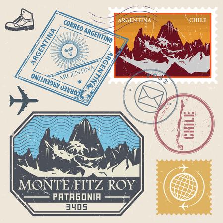 Le timbre de poste avec le Monte Fitz Roy est une montagne située dans la Patagonie du Sud, des enseignes d'aventure en montagne en plein air, des expéditions, une illustration vectorielle