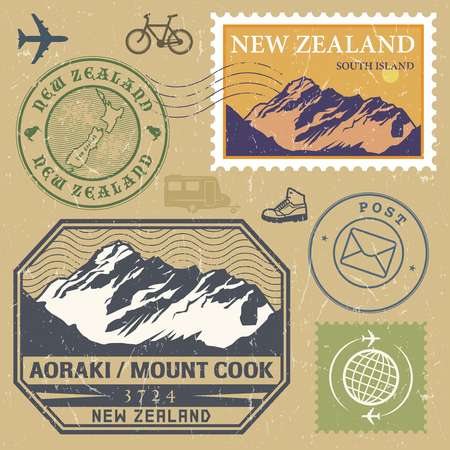 new zealand word: Post stamp set with Aoraki  Mount Cook is the highest mountain in New Zealand, outdoor, expedition mountain adventure signs, vector illustration