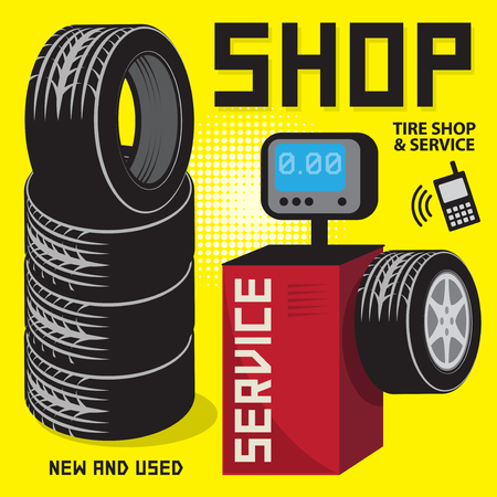 mounting: Vintage tire service or garage poster with text Tire shop and Service, High Quality, vector illustration
