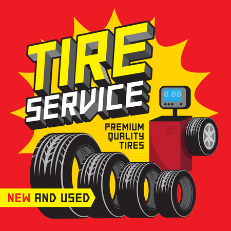 Vintage tire service or garage poster with text Tire Service premium Quality Tires New and Used vector illustration