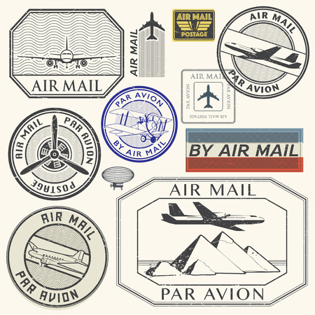 avion: Grunge rubber ink stamps set with plane and the text air mail, par avion written inside the stamp, vector illustration