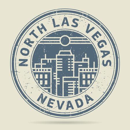 civilisation: Grunge rubber stamp or label with text North Las Vegas, Nevada written inside, vector illustration