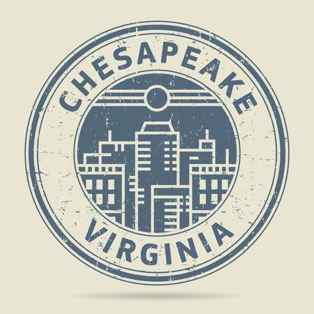 civilisation: Grunge rubber stamp or label with text Chesapeake, Virginia written inside, vector illustration Illustration
