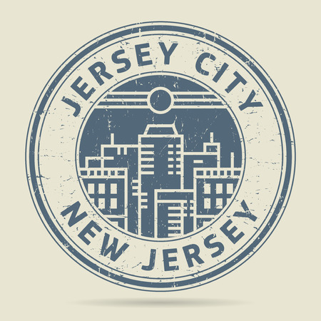 Grunge rubber stamp or label with text Jersey City, New Jersey written inside, vector illustration