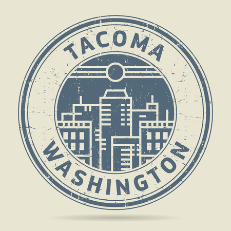 tacoma: Grunge rubber stamp or label with text Tacoma, Washington written inside, vector illustration Illustration