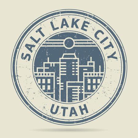 civilisation: Grunge rubber stamp or label with text Salt Lake City, Utah written inside, vector illustration