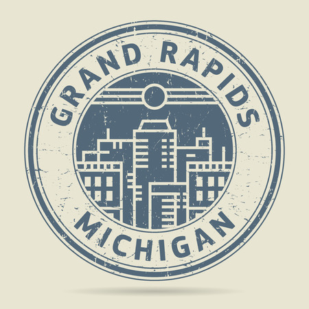 Grunge rubber stamp or label with text Grand Rapids, Michigan written inside, vector illustration Illustration