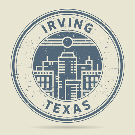 civilisation: Grunge rubber stamp or label with text Irving, Texas written inside, vector illustration
