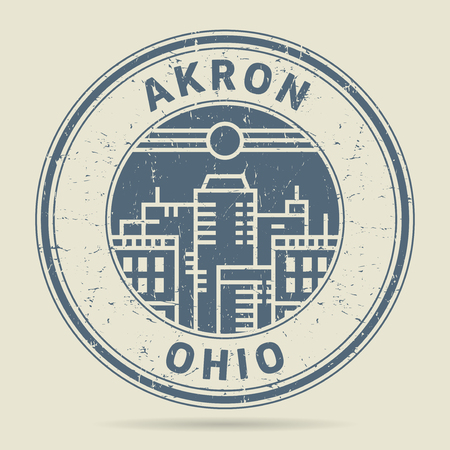 civilisation: Grunge rubber stamp or label with text Akron, Ohio written inside, vector illustration