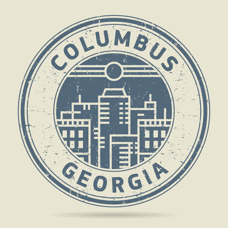 civilisation: Grunge rubber stamp or label with text Columbus, Georgia written inside, vector illustration