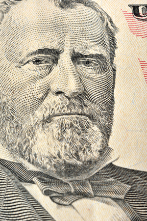 ulysses s  grant: Ulysses S. Grant face on United States fifty-dollar bill, macro close up