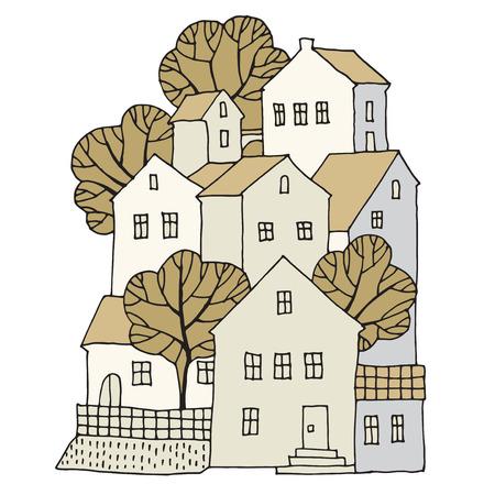 Cartoon mano case di disegno, illustrazione vettoriale