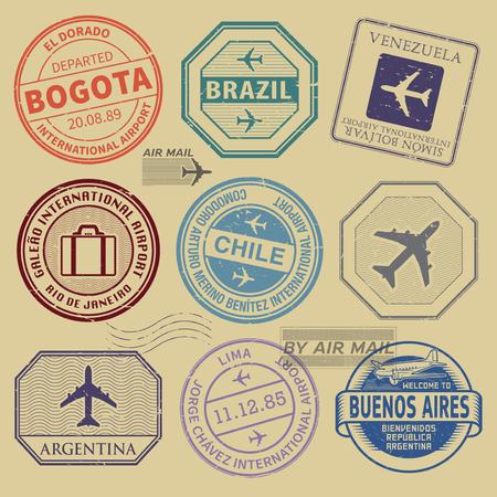 Sellos de viaje o símbolos conjunto tema de aeropuertos de Sudamérica, ilustración vectorial Ilustración de vector