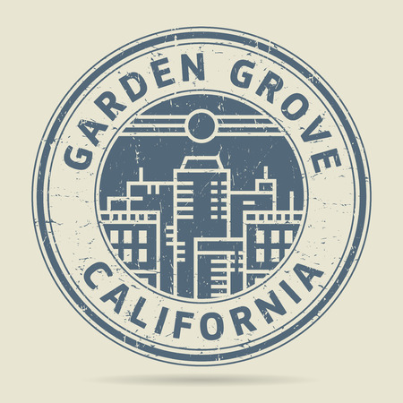 grove: Grunge rubber stamp or label with text Garden Grove, California written inside, vector illustration