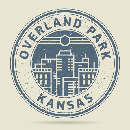 civilisation: Grunge rubber stamp or label with text Overland Park, Kansas written inside, vector illustration