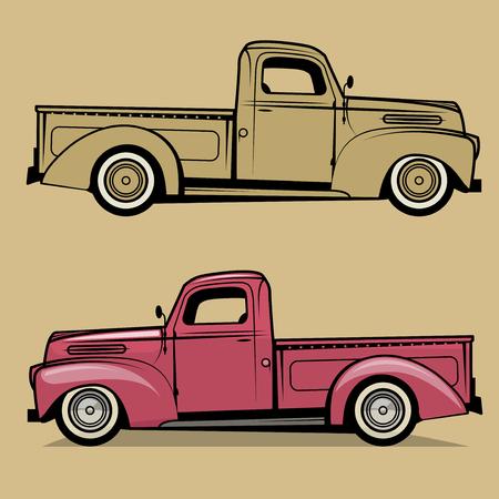 Retro pickup truck. Vector illustration