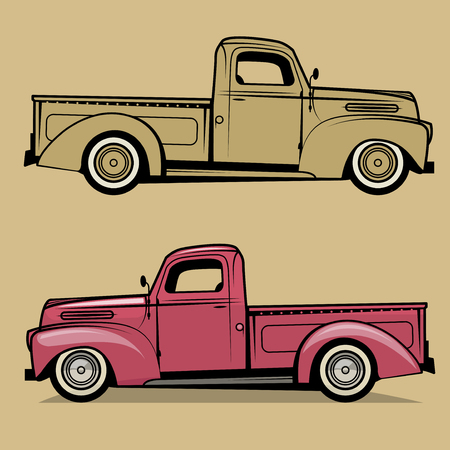 Retro pick-up truck. Vector illustratie Stockfoto - 72661757