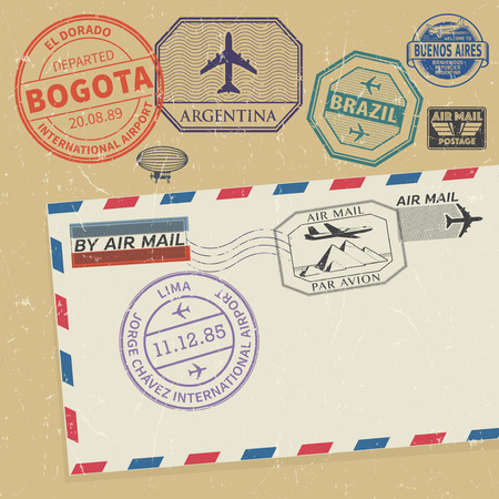south america: Travel stamps set with the names of South America cities, vector illustration