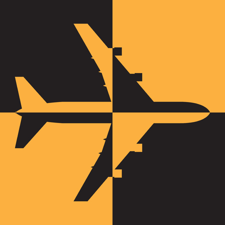 liftoff: Airport or airplane shape. Flat airplane sign or symbol, vector illustration Illustration