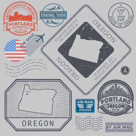 Retro vintage postage stamps set Oregon, United States theme, vector illustration Illustration