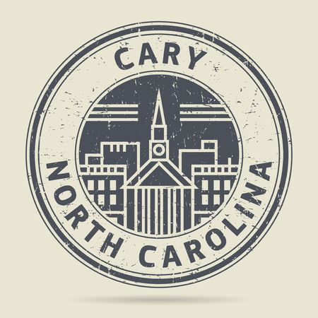 cary: Grunge rubber stamp or label with text Cary, North Carolina written inside, vector illustration Illustration