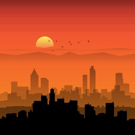 City skyline. Urban landscape. Cityscape in flat style. Modern city landscape. Cityscape backgrounds. Daytime city skyline, vector illustration