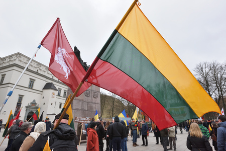 VILNIUS, LITHUANIA - MAR 11: Around one thousand people gathered with flags in a nationalist rally at Gedimino Avenue on Re-Establishment of Independence Day on March 11, 2017 in Vilnius, Lithuania Editorial