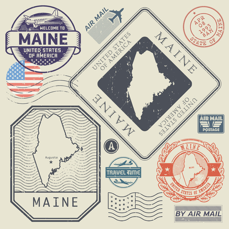 Retro vintage postage stamps set Maine, United States theme, vector illustration.