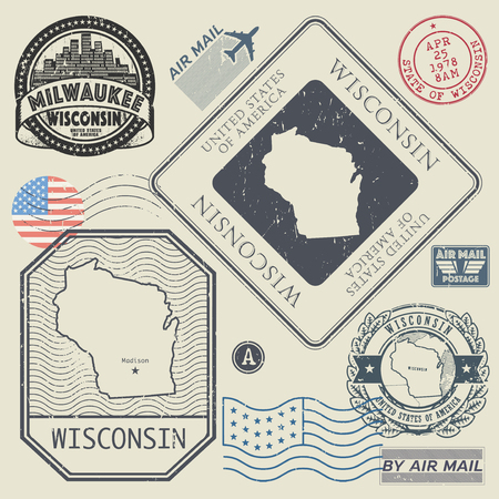 wisconsin: Retro vintage postage stamps set Wisconsin, United States theme, vector illustration
