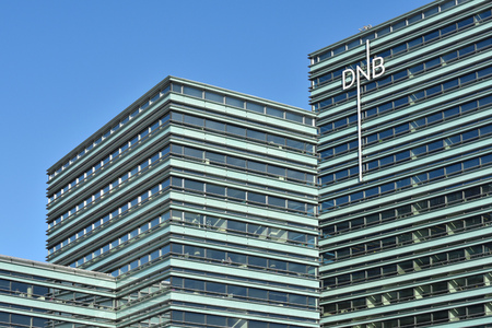 VILNIUS MARCH 16: Office of DnB NORD bank on March 16, 2017 in Vilnius Lithuania. DNB AS The Bank head office is located in Copenhagen, while the Bank has operations in Estonia, Latvia, Lithuania.