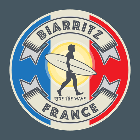 Abstract surfer stamp or sign text Biarritz, France, vector illustration