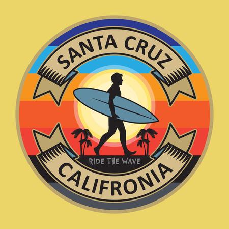 Résumé sur le tampon surfeur ou le texte de signe Santa Cruz, Californie, illustration vectorielle