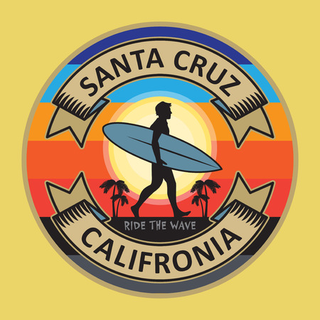 Abstract surfer stamp or sign text Santa Cruz, California, vector illustration