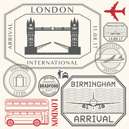 leeds: Travel stamps or symbols set England London and United Kingdom cities theme vector illustration