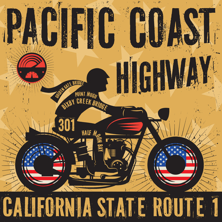 original bike: Biker riding a motorcycle poster with text Pacific Coast Highway, California. Bikers event or festival emblem. Vector illustration