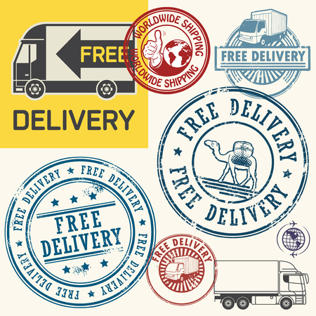 free illustration: Free delivery stamps or tags set, vector illustration