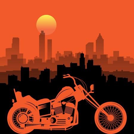 Motorcycle and city skyline. Emblem of bikers club sign. Vector illustration Illustration