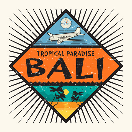 Stamp or label with the name of Bali Island, Tropical Paradise, vector illustration