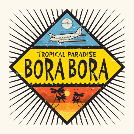 Stamp or label with the name of Bora Bora Island, Tropical Paradise, vector illustration Illustration
